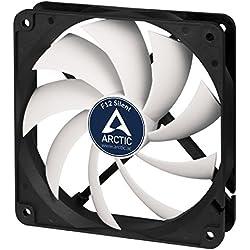 ARCTIC F12 Silent - 120 mm, Ventilateur Haute Performance, Ventilateur Boitier, Refroidisseur Silencieux pour Unité Centrale, Roulement à Fluide Dynamique, Niveau Sonore Ultra Bas 0,08 Sone