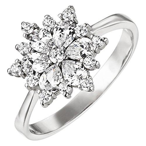 925 Silber Schneeflocke aus Zirkonia in Weiß (56 (17.8)) (Schneeflocke Ringe)