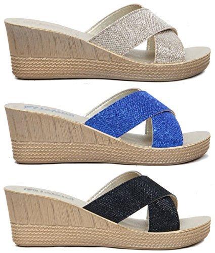 Femmes À Enfiler Sandales Semelle Compensée, Croix En Strass Lanière Décontracté chaussure été