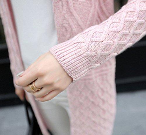 Moorui Donne Maglione Perla Cardigan Lungo Maglia Cappotto Anteriore Aperto Pink