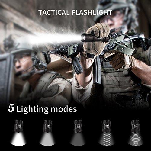 Linterna y Bolígrafo Táctico, con 5 Modos, Impermeable IPX4, Anti-caída, Batería AA incluida Morpilot Bolígrafo giratorio de Alumnio, Resistente para Camping, Caza, Emergencia, Militar