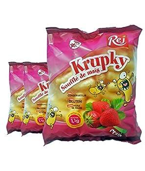 Krupky Soufflé de Maïs à la Fraise - SANS GLUTEN - Lot de 3 sachets de 90g