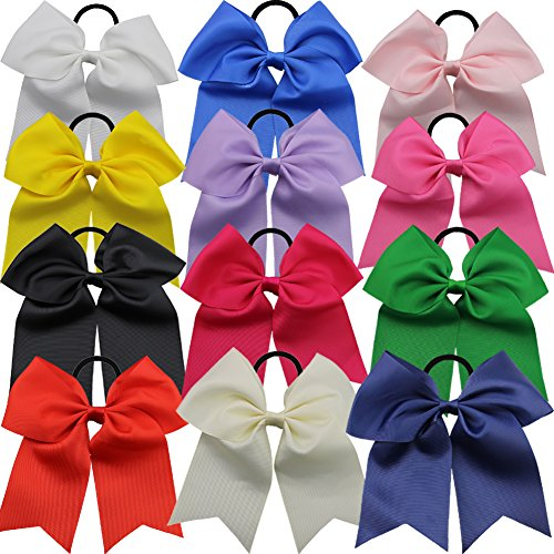 QtGirl 12 stk 18cm große Haarschleifen Cheerleader Haarband für Mädchen aus Ripsband und Gummiband