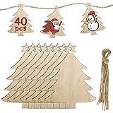 MELLIEX 40 Piezas Adornos de Madera de Colgantes de Navidad para DIY, Arboles de Navidad Colgantes de Madera con 40pcs Cordeles para Adornos de Navidad