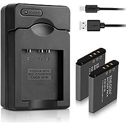 ENEGON Batterie de Remplacement (2 Paquets) et Chargeur pour Fujifilm NP-50 BC-45W BC-50 et Fuji FinePix F50FD F60FD F100FD F200EXR RF600EXR F800EXR X10 X20 XP100 XP200 et Plus d'Appareils Photo