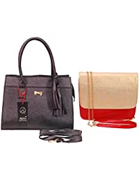 Anemone Women's Shoulder Bag 04 And Sling Bag Combo (Black Red)