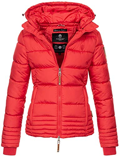 Marikoo Designer Damen Winter Jacke Steppjacke Winterjacke Stepp gesteppt B668 [B668-Sol-Rot-Gr.XL]