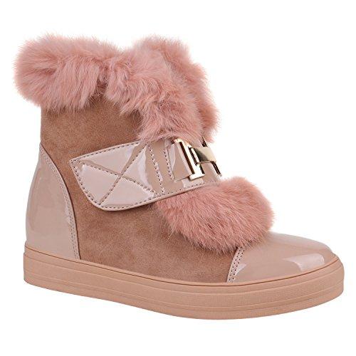 Damen Stiefeletten Plateau Boots Warm Gefütterte Schuhe Booties 151898 Rosa Lack 40 Flandell