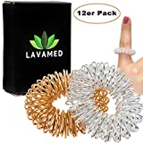 LAVAMED® Akupressur Ringe (12 Stk.) Finger-Massageringe - Massage für Finger - Fingermassage-Ring mit verbessertem Konzept, Finger-Ringe für Fingermassage