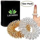 Akupressur Ringe (12 Stk.) Finger Massage-Ring - Massageringe für Handgelenk - Fingermassageringe mit verbessertem Konzept, Finger-Ringe für Fingermassage