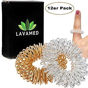 Akupressur Ringe (12 Stk.) Finger Massage-Ring – Massageringe für Handgelenk – Fingermassageringe mit verbessertem Konzept, Finger-Ringe für Fingermassage