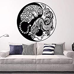 Stickers muraux Caché Dragon Tigre accroupi Vinyle Wall Sticker Mythologie Asiatique Style Affiche Home Decor Yin Yang Vinyle Art 100x100 cm