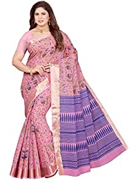 Maliqua Women's Poly Cotton Printed Saree With Blouse Piece (Pink)