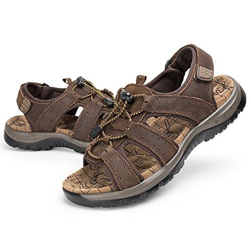 Moollyfox Strap Sandales Homme En PU-Cuir/Chaussures De Sport Marron Foncé