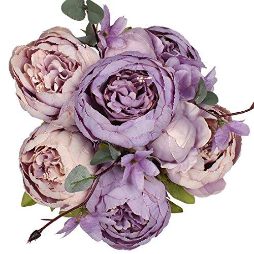 Luyue Vintage Pfingstrosen, künstlich, Seide, Blumen-Bouquet, Hochzeitsdekoration Violett (New Purple)