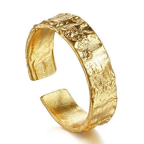 Silber Ringe-Gehämmerte Ringe für Damen 925 Sterling Silber (18K Gold, Silber)