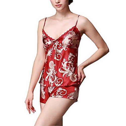 Ahatech Femme 2 Piece Ensemble Chemise de Nuit Pyjama short Sexy Nuisette Satin Bordeaux