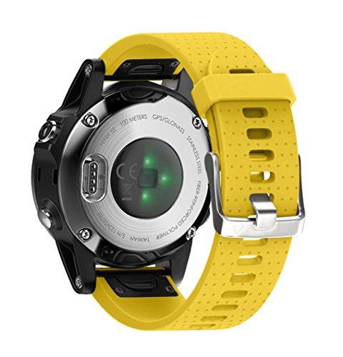 Streifen-buch-tasche (Uhr Armband für Garmin Fenix 5S GPS Uhr, CICIYONER 1PC Ersatz Silica Gel Soft Quick Release Kit Uhrenbänder, 11 Farben zu wählen (Gelb, Garmin Fenix 5S GPS Watch))