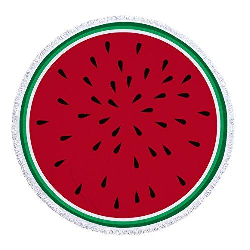 Gedruckte runde Blume Multifunktions Strandtuch Teppich Schal Wassermelone 150 * 150cm