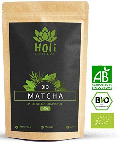 Premium BIO Matcha-Tee Pulver 105g - aus kontrolliertem Anbau - Premium Qualität - extra frein gemahlen, Ideal für Latte, Smoothies und Backen.