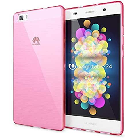 delightable24 Caso Case de la Cubierta de TPU Silicona HUAWEI P8 LITE Smartphone - Transparente / Pink Rosa