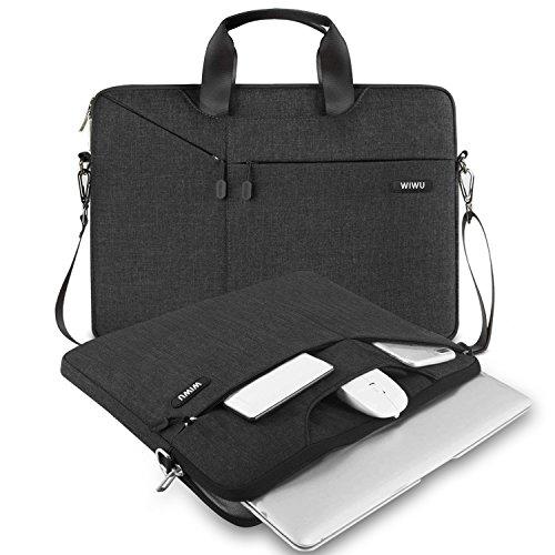 WIWU 13,3 Zoll Laptop Hülle Messenger Schultertasche Gepolsterte Nylon Shockproof Wasserdichte Aktentasche für MacBook Air / Pro Retina, 2016 MacBook Pro 13 / Oberfläche Pro / Notebook (13,3 Zoll, Schwarz)