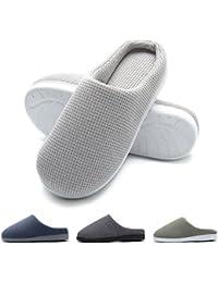 Zapatillas de casa de Hombre, Ultraligero cómodo y Antideslizante, Zapatilla de Estar por casa para Hombre, Gris Claro, EU 44-45 (Longitud 28-28.5CM)