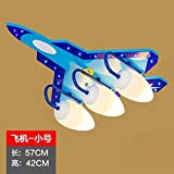 WXBW Tischleuchte-Kinderzimmer Beleuchtung Deckenleuchte Jungen Schlafzimmer LED Auge Kreative Cartoon Kinderzimmer Flugzeugbeleuchtung,Bunte Fernbedienung des Kleinen Flugzeugs Keine Lampe