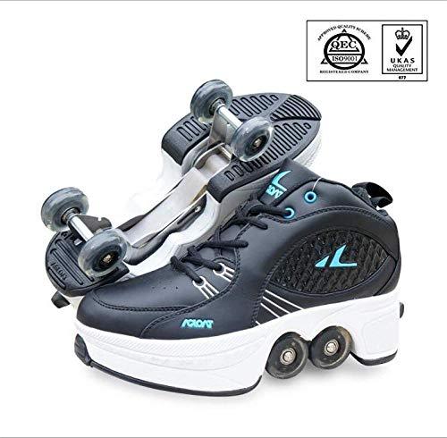 WERTYUH Inline-Skate, 2-in-1-Mehrzweckschuhe, Verstellbare Quad-Rollschuh-Stiefel,Black-42