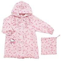 Hello Kitty raincoat (check) 100cm (Japan import / The package and the manual are written in Japanese)