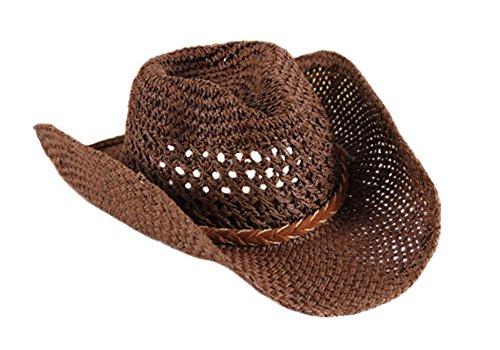 (Fletion Unisex Cowboy Hut Sonnenschutz Sonnenhut Sommerhut Strohhut Mesh Jazz Kappe)