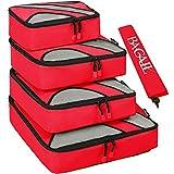 Set di cubi, confezione da 4 pacchi, per valigia da viaggio, con sacchetto per biancheria, Packing Organizers Rosso rosso