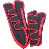 Transportgamaschen aus Polyester schwarz/rot Warmblut
