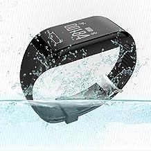 iMusic, Pulsera inteligente, Fitness, Ritmo Cardíaco, Resistente al Agua, Registro de Sueño, Monitor analístico, Podómetro– negro