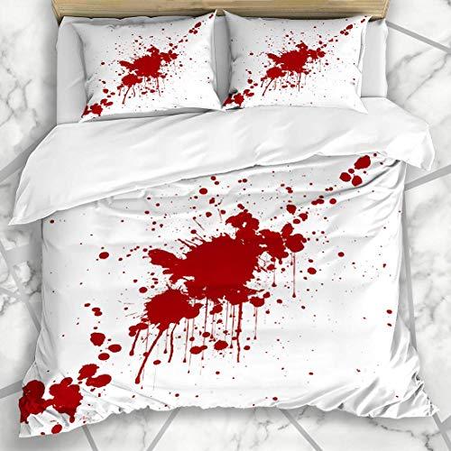 ets Chaos Spritzer Spritzer Rote Farbe Illustraitttion Abstrakt Tropfen Blut Spritzer Spritzer Fleck Sprühfarbe Mikrofaser Bettwäsche mit 2 Kissenbezügen ()