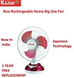 Rico Rechargeable Battery Table Fan Electric Plus Battery Table Fan 12 inches Japanese Technology swing for bedroom study big size for home office with oscillating high speed rechargeable table fan with battery for home office
