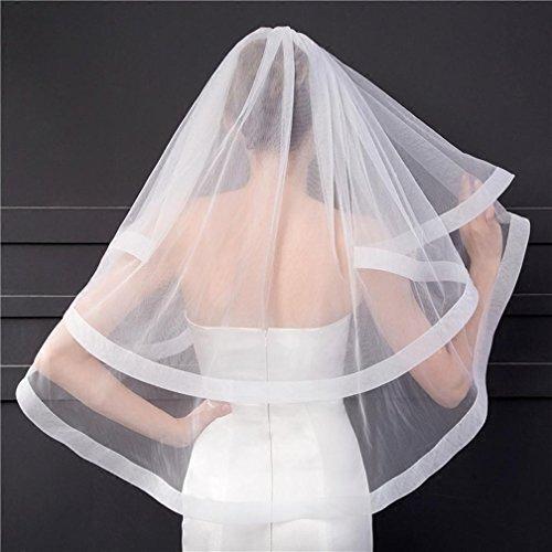 Sposa velo nozze partito polpastrello doppio strato sezione corta filato morbido con un pettine bianco / avorio , ivory