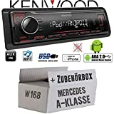 Mercedes A-Klasse W168 - Autoradio Radio Kenwood KMM-204 - MP3 | USB | iPhone - Android - Einbauzubehör - Einbauset