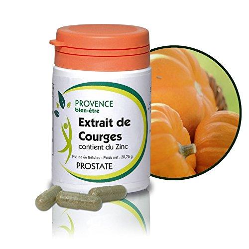 EXTRAIT DE COURGES - 66 gélules à base de plantes naturelles - Stimule le fonctionnement de la prostate et du système urinaire - Combat les perturbations urinaires - Contribue à des nuits tranquilles