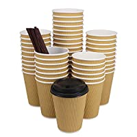 ZMYBCPACK Hot Paper Coffee Cups with Travel Lids Disposable Paper Cups for Coffee, Tea, Hot or Cold Beverage 12oz(100 pack with lids and straws) Brown