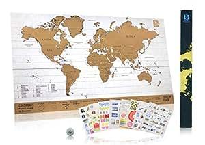 """Klassik Rubbel-Fernwehlandkarte """"Scratch Wanderlust Map"""" - Münze zum einfachen freirubbeln – Karte beinhaltet 229 süße Reisesticker – Teile deine Reiseberichte"""