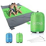 U-HOME stranddecke sandfrei, 210 x 270cm Picknickdecke Campingdecke Strandtuch für Outdoor Reisen Wandern Camping Picknick, Grün