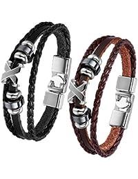 JewelryWe - 2 Pulseras de cuero, aro marrón pulsera trenzada de cuero para damas caballeros, 22 cm negro marrón, con bolsa de regalo