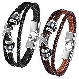 JewelryWe - 2 Pulseras de cuero, aro marrón pulsera trenzada de cuero para damas caballeros, 22 cm...