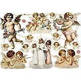 Cromos vintage, hoja 16,5x23,5 cm, ángeles grandes, 3hoja