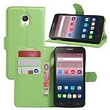 TOOOGOO(R) Premium PU Leder Wallet Flip Tasche Case Cover mit Karten Slot fuer Alcatel One Touch Pop Star 5022D 5.0 Inch Smartphone (Gruen)