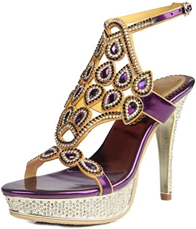 Mujeres Señoras Mid Low High Heel Strappy Diamante Party Prom Prom Sandalias Zapatos Tamaño , Purple , EUR 39/...