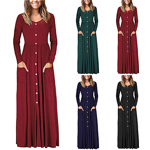 DIKEWANG Women's Long Sleeve Loose Plain Maxi Dresses Casual Long Dresses with Pockets Cocktail Evening Swing Party Dress