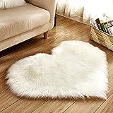 Edhua Liebes-Herz-Wolldecken-Auflagen,künstlicher Wolle-Schaffell-Teppich-Boden-Matte-Weiches flaumiges für Schlafzimmer