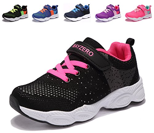 UMmaid Kinder Schuhe Sportschuhe Laufschuhe Jungen Mädchen Kinderschuhe Turnschuhe Sneaker (28 EU, Schwarz&rosa)
